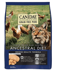CANIDAE Grain-Free PURE Ancestral Freeze-Dried Raw Coated Indoor Health Formula with Chicken Dry Cat Food