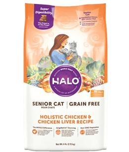Halo Holistic Chicken & Chicken Liver Recipe Grain-Free Senior Dry Cat Food