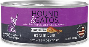 Hound & Gatos 98% Turkey & Liver Formula Grain-Free Canned Cat Food